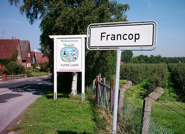 Ortseinfahrt des Stadtteils Hamburg-Francop