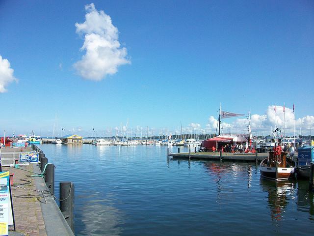 Blick auf den Hafen von Stralsund