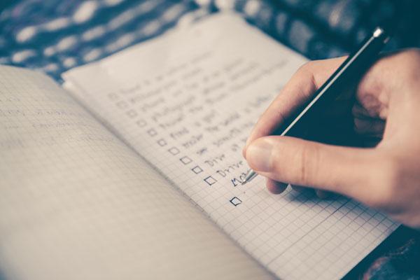 Vorbereitung mit einer Checkliste