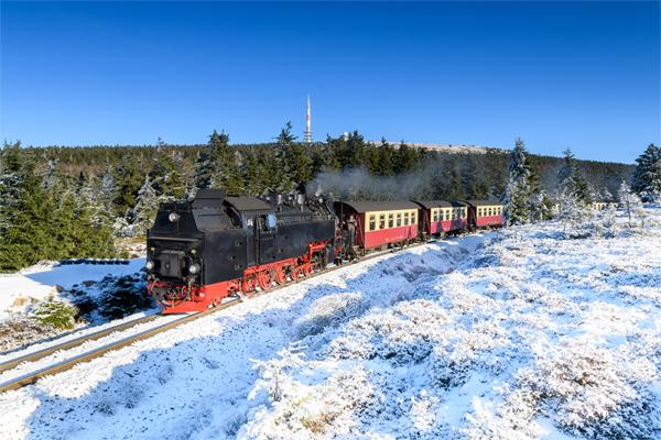Harzerschmalspurbahn auf dem Brocken im Harz
