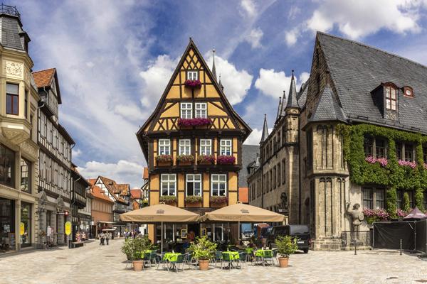 Alte Fachwerkhäuser in Quedlinburg im Harzgebirge