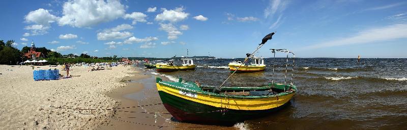 Plaża Sopot - łodzie rybackie
