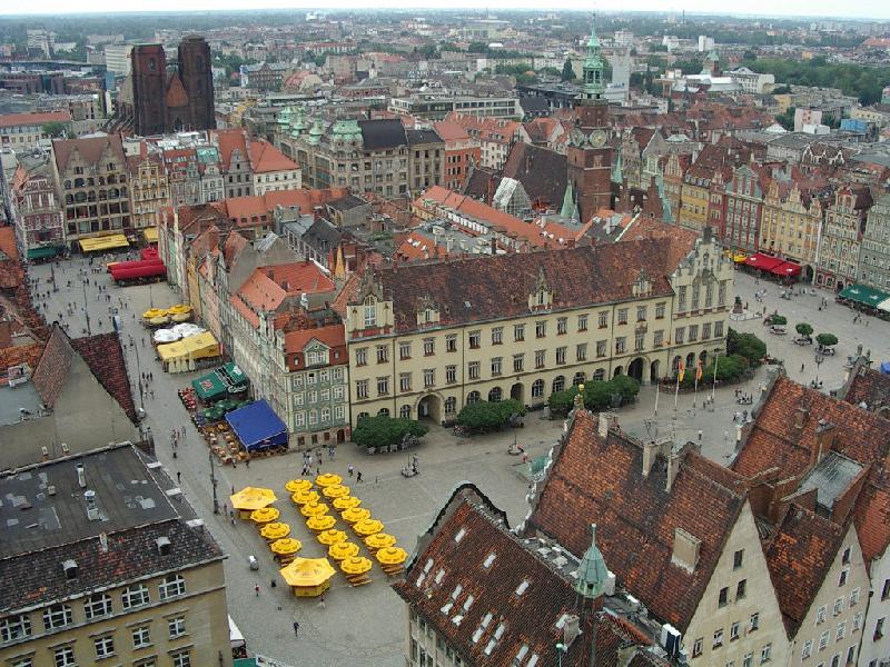 Widok na rynek we Wrocławiu