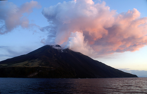 The volcano atop the island of Stromboli