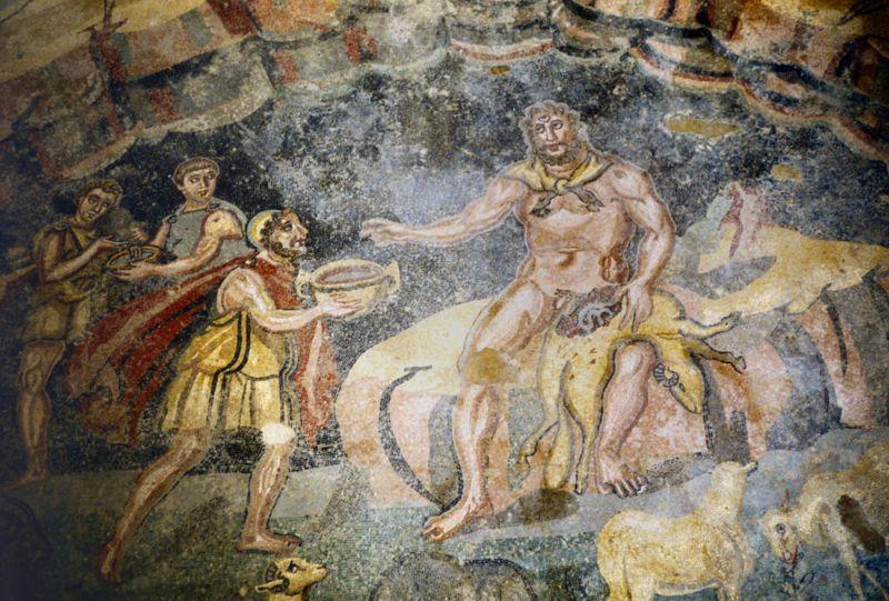 Vestibolo del Polifemo in der Villa Romana del Casale auf Sizilien