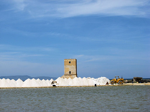 Harvesting salt in the Trapani salt mine.