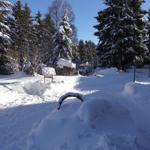 Garten bei Schnee.