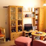 Wohnzimmer mit SAT-TV und kleiner Stereoanlage mit Radio, CD und Kassette. Bücher- und Spieleauswahl sowie Harzer Ausflugsziel-Prospekte.