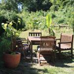 Sitzgruppe im Garten.