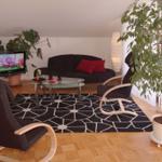 Der Wohnbereich mit Sofa und TV