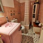 Das Vintage Bad lässt keine Wünsche offen . Eine Waschmaschine mit interg. Trockner , Dusche & Toilette. Beleuchteter großer Spiegel .