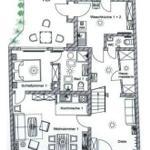 Grundriss Erdgeschoss: Wohnung 1, Diele, Waschküche, Keller