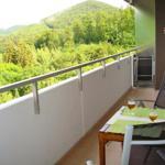 auf dem großen Balkon mit modernen Gartenmöbeln für 4 Personen können Sie schon beim Frühstück die Morgensonne und die Harzer Wälder genießen. Zugang vom Wohnzimmer und Schlafzimmer aus.