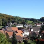 Blick auf den Ort, umgeben von Harzer Wäldern.