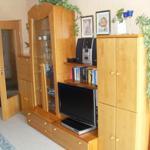 Wohnwand mit Flachbild-TV und DVD-Spieler