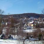 Blick vor der Haustür - von hier sehen Sie die Stiftskirche und den nahen Wald
