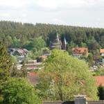 Blick von der Loggia auf die Stabkirche