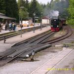 Die legendäre dampfbetriebene Brockenbahn hält in der Nähe unseres Hauses am Bahnhof Schierke(10 Gehmin.) Hier Einfahrt eines Brockenzuges.