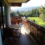 Balkon mit Blick auf Wald und Wiese