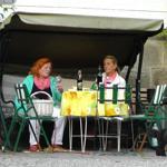 Naturfelsengarten am Bach, Sitzecke mit Kinderschaukel und Grill.