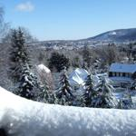 Blick vom Balkon im Winter.