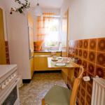 Die Küche ist unter anderem mit Mikrowelle, Gasherd mit Backofen eingerichtet.