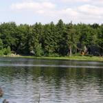 Blick über den See auf den Ferienpark