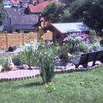 Unser Garten mit Ruhebank am Teich und wunderschönem Ausblick für Erholung -pur-