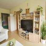 App. 2: Mediawand im Wohnzimmer (Kabel Deutschland Programmvielfalt und Musiksender)  mit Flat-Sreen-TV und vielen DVD`s