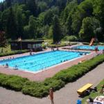 Unser sehr gepflegtes Bürgerbad. Becken für Schwimmer, Nichtschwimmer und Planschbecken für die Kleinen sowie Spielgeräte.