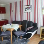 Wohnzimmer mit Küchenzeile und Kaminofen.Fernseher,Radio