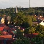 Blick auf die Stadt von der Terrasse.
