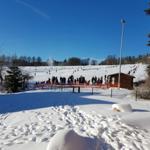 Ausblick von der Terrasse auf die Skiwiese 05.01.2017