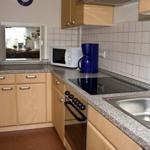 Einbauküche mit Ceranfeld, Backofen, Microwelle, Spülmaschine und alles was man in der Küche braucht.
