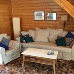 Auf der hellen und neuwertigen Schlaf-Couch kann im Wohnzimmer nach langen Spaziergängen entspannt werden.