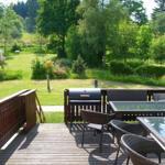 Ausblick von der Terrasse in den parkartigen Gartenbereich