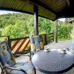 Große überdachte Terrasse mit Gartenmöbeln und Grill.